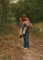 June, Gary on back in woods